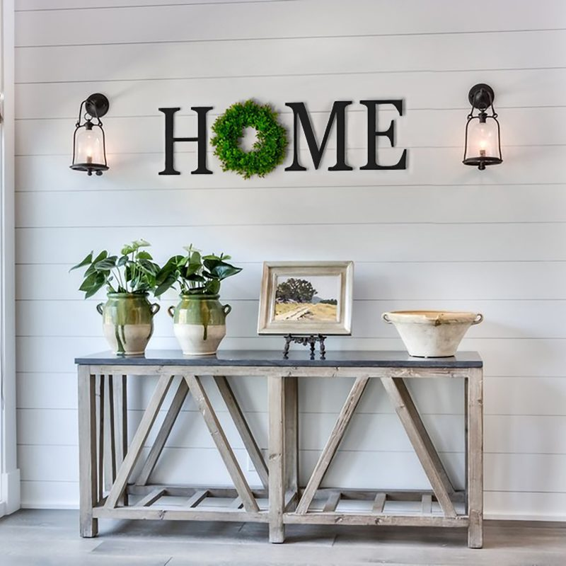 home letters with wreath serif
